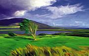 Mountain Mixed Media Prints - Achill Island Ireland  sunny Print by Bob Salo