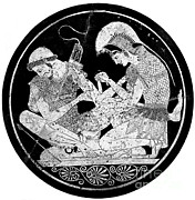 Tending Framed Prints - Achilles Tending Patroclus Wounds Framed Print by Photo Researchers