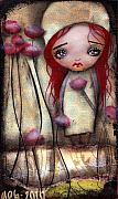 Roses Poppies Paintings - Achima  by  Abril Andrade Griffith