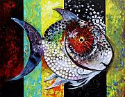 Large Paintings - AcidFish 70 by J Vincent Scarpace