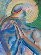 Praying Hands Pastels Framed Prints - Acolyte Framed Print by Olivia Candille