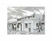 American City Drawings Prints - Acoma Sky City Print by Jack Pumphrey