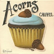 Nuts Paintings - Acorn Caramel Cupcake by Catherine Holman
