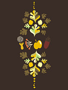 Acorn Digital Art - Acorn Leaves, Nuts, Flowers And Fruit by Yulia Drobova