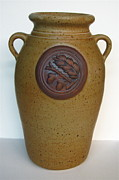 Handcrafted Ceramics - Acorn Relief Vase by Elk Falls Pottery