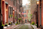 New England Architecture Posters - Acorn Street Poster by Susan Cole Kelly