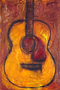 Guitars Paintings - Acoustic guitar 3 by Karl Haglund