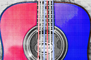 Red White And Blue Mixed Media - Acoustic Guitar - Americana by Steve Ohlsen