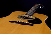 Music Photo Prints - Acoustic Guitar  Black Print by M K  Miller