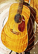 Acoustic Guitar Digital Art Metal Prints - Acoustic on Stand Metal Print by Tilly Williams