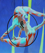 Tricks Painting Posters - Acrobats Poster by Kevin Lawrence Leveque