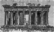 Surrealism Drawings Prints - Acropolis Print by George Rossidis