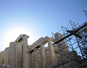 Neo-classical Posters - Acropolis Majestic Columns with the Sun Backdrop During 2011 Construction Renovation Athens Greece Poster by John A Shiron