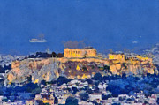 View Paintings - Acropolis of Athens during sunrise by George Atsametakis