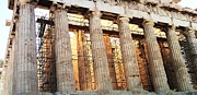 Neo-classical Posters - Acropolis Parthenon Palace Giant Architectural Columns During Rehabilitation Athens Greece Poster by John A Shiron