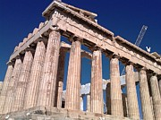 Neo-classical Posters - Acropolis Parthenon Palace Huge Ancient Columns During Reconstruction and Rehab in Athens Greece Poster by John A Shiron
