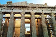 Neo-classical Posters - Acropolis Parthenon Palace II Giant Architectural Columns During Rehabilitation Athens Greece Poster by John A Shiron
