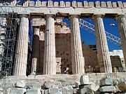 Neo-classical Posters - Acropolis Parthenon Palace III Giant Architectural Columns During Rehabilitation Athens Greece Poster by John A Shiron