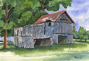 Old Barn Painting Posters - Across From Andies Poster by Marsha Elliott
