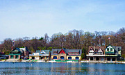 Rowing Crew Digital Art Prints - Across from Boathouse Row - Philadelphia Print by Bill Cannon