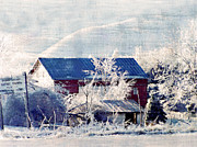 Snow Landscapes Metal Prints - Across From The Church Metal Print by Kathy Jennings