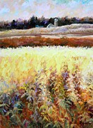 Cornfield Paintings - Across The Cornfield by Bonnie Goedecke