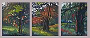 Autumn Drawings Originals - Across the Creek Triplet by Donald Maier