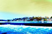 Waterworks Digital Art - Across the Dam to Boathouse Row. by Bill Cannon
