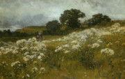 Hills Painting Prints - Across the Fields Print by John Mallord Bromley