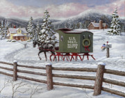 Christmas Cards Painting Prints - Across the Miles Print by Richard De Wolfe