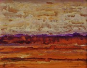 Warm Colors Paintings - Across The Plain by Lou Cicardo