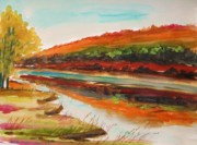 Riverscape - Early Autumn Prints - Across the River Print by John  Williams