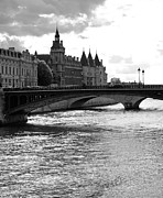 Black And White Paris Posters - Across the Seine Poster by Chris Ann Wiggins