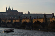 Karluv Most Prints - Across the Vltava River to Prague Castle Print by Serena Bowles