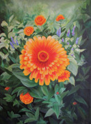 Acrylic Flower Painting - Zoozinnia Print by Avril Whitney