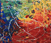 Dated Originals - Acrylic  Poured  And  Dripped  2001 by Carl Deaville