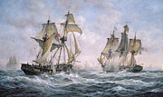 Flag Framed Prints - Action Between U.S. Sloop-of-War Wasp and H.M. Brig-of-War Frolic Framed Print by Richard Willis