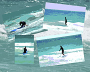 Juvenile Wall Decor Mixed Media Metal Prints - Action Surfing Print Metal Print by ArtyZen Kids