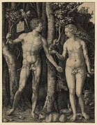Germans Metal Prints - Adam And Eve, 1504 Engraving By German Metal Print by Everett