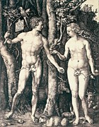 Garden Of Eden Posters - Adam and Eve Poster by Albrecht Durer