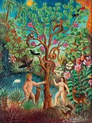 Snake In Tree Posters - Adam and Eve Before the Apple Poster by Colette Raker