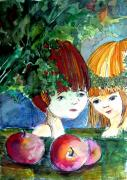Apples Drawings Posters - Adam and Eve Before the Fall Poster by Mindy Newman