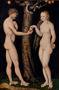 Adam And Eve Metal Prints - Adam and Eve in the Garden of Eden Metal Print by The Elder Lucas Cranach