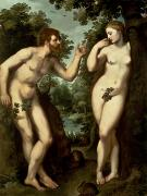 Man And Woman Posters - Adam and Eve Poster by Peter Paul Rubens