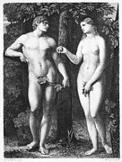 Etching Prints - Adam & Eve Print by Granger