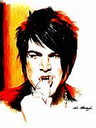 Orange Drawings - Adam Lambert by Lin Petershagen