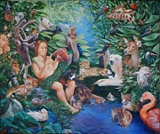 Goat Painting Originals - Adam Naming the Animals and the Appearance of Eve by Rosemarie Adcock