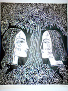 Wood Reliefs Posters - Adam Or Eve Poster by Daljeet  Kaur