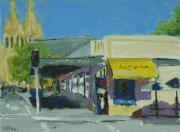 Urban Buildings Pastels Posters - Adelaide Near St. Peters Poster by Mary McInnis