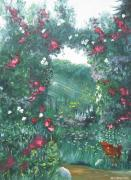 Sun Rays Painting Originals - Adels Garden by John Loyd Rushing